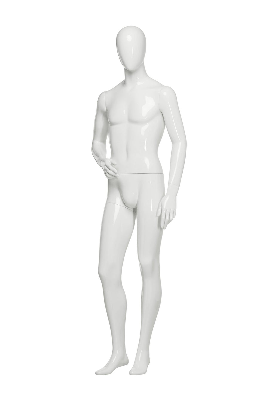 pure white male mannequin with blank face and right arm slightly bent