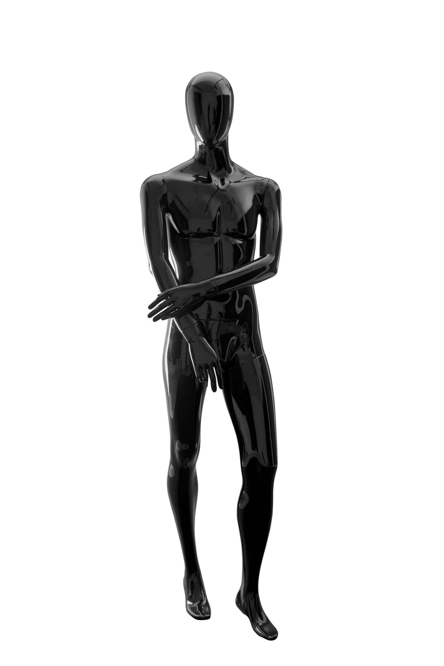 jet black male mannequin with blank face and left arm holding right arm