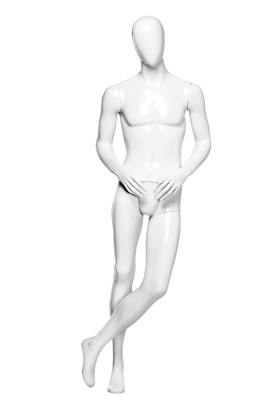 pure white male mannequin leaning to the left with smooth face, arms slightly bent, and left leg crossed over right leg