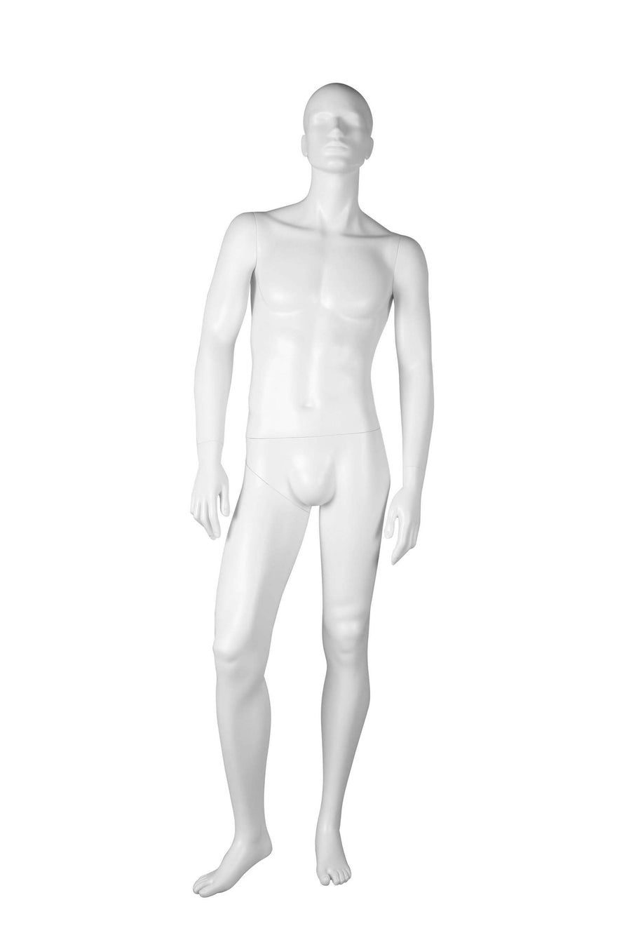 pure white male mannequin with relaxed arms and legs and head looking up