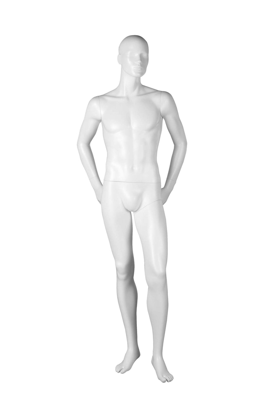 pure white male mannequin with hands behind hips