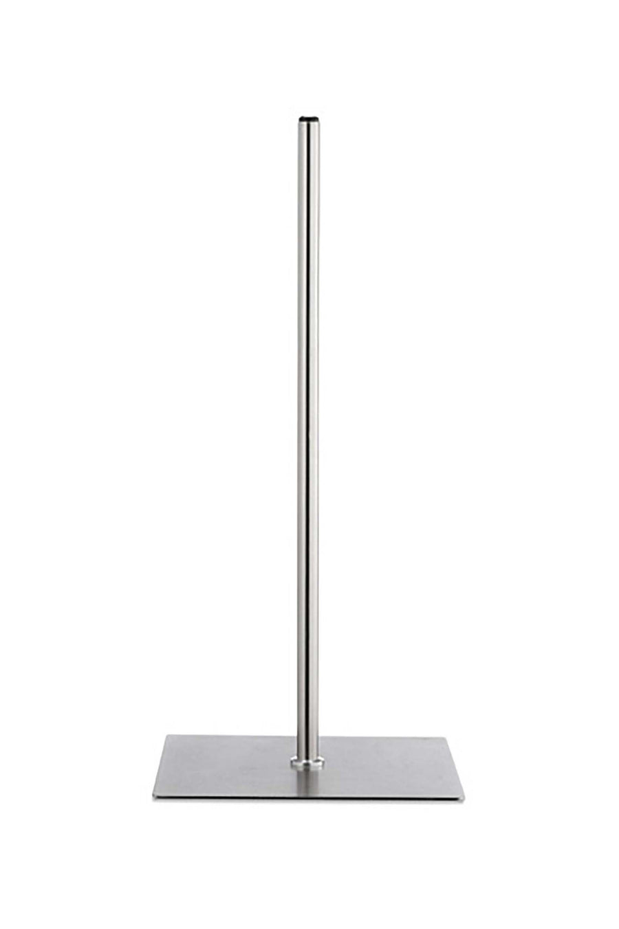 metal stand for mannequin busts and torsos with a brushed stainless steel finish