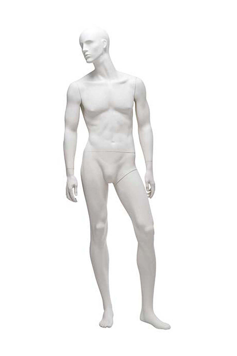 pure white male mannequin with head turned right and relaxed arms and legs