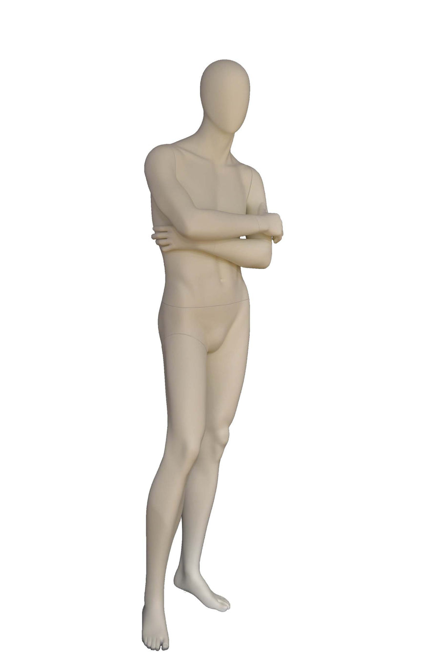 pure white male mannequin with smooth face, arms crossed at chest, and right leg slightly forward