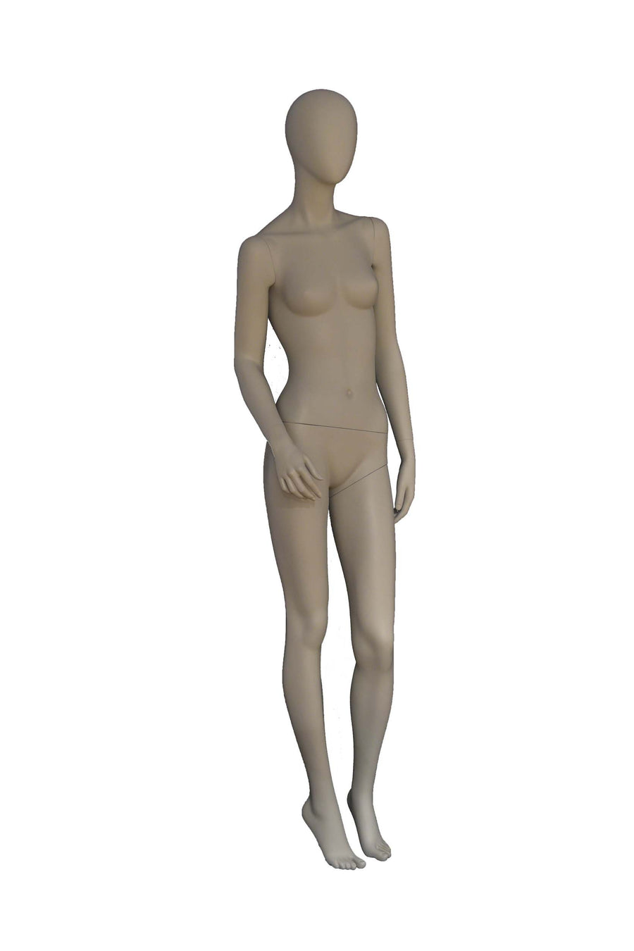 matte grey female mannequin with relaxed arms and legs and blank face