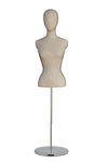 signal white female bust form mannequin with no arms and a blank face