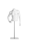 pure white headless male half torso mannequin with right hand on hip