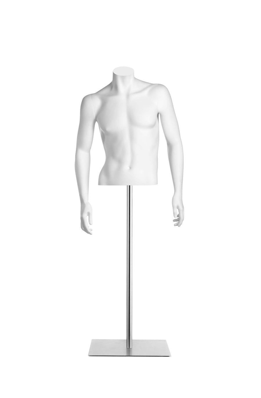 pure white headless male half torso mannequin with arms at sides