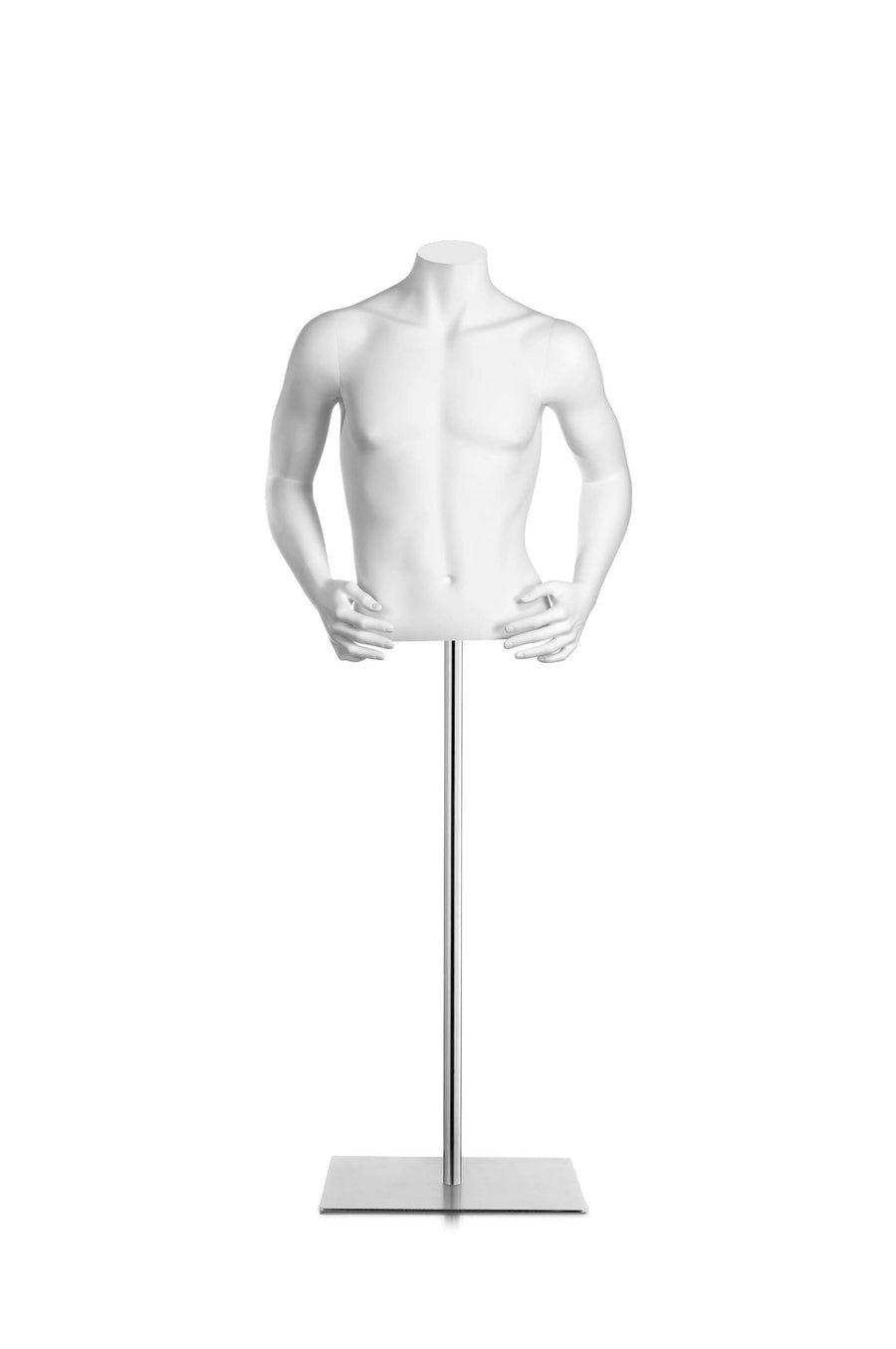 pure white headless male half torso mannequin with both hands on hips