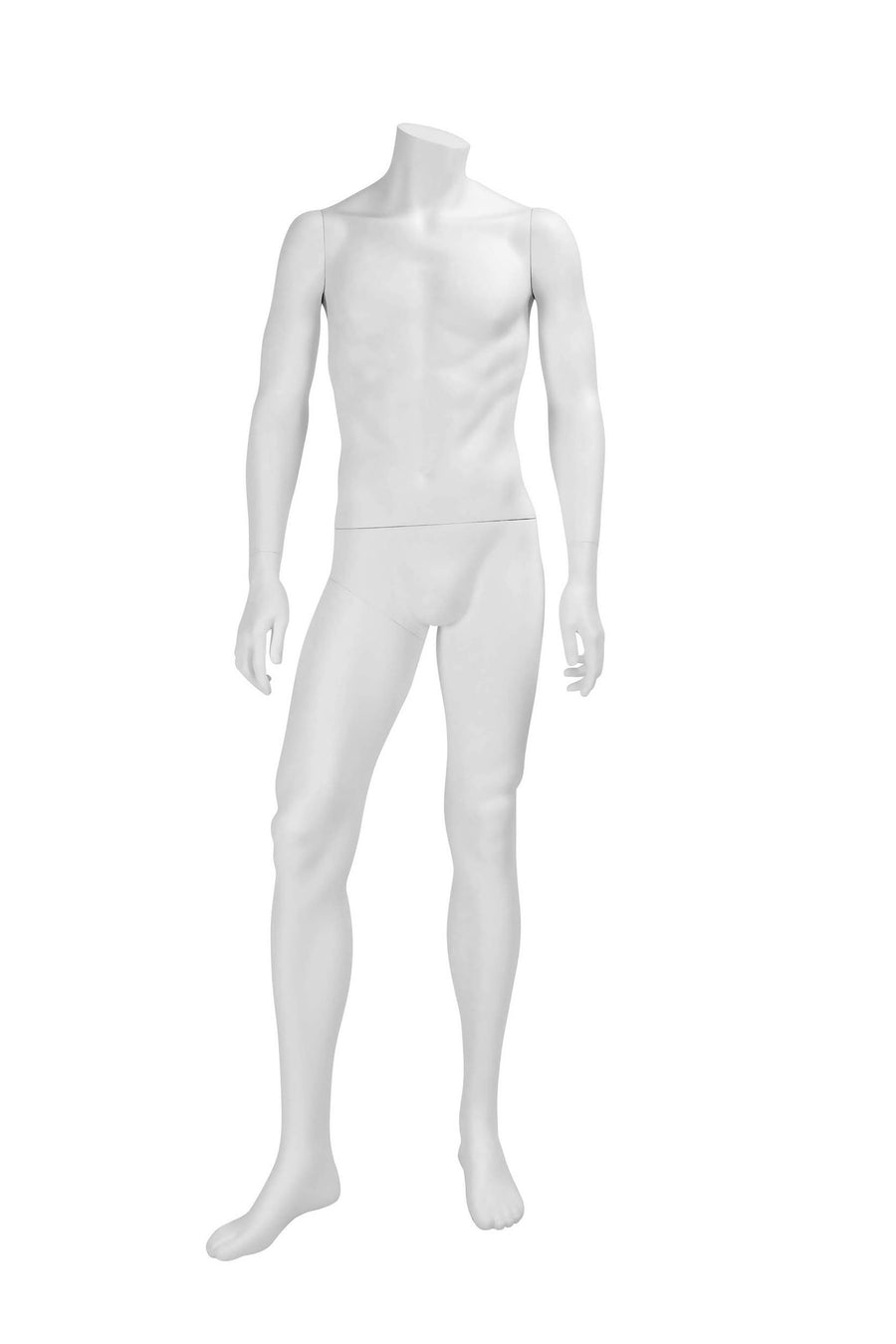 genesis pure white headless male mannequin with arms at sides and right leg stepping forward
