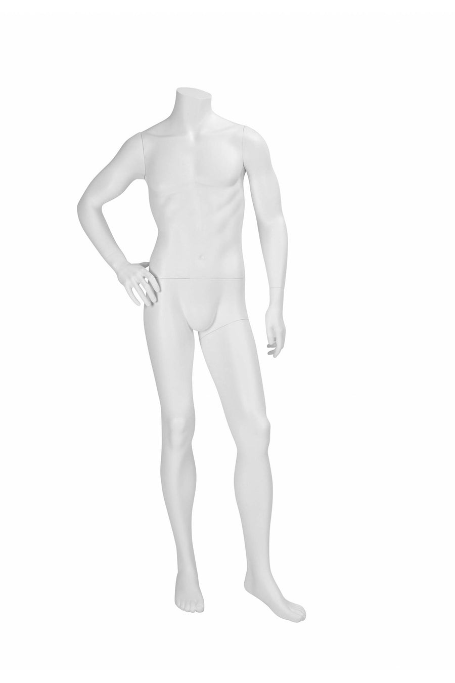 pure white headless male mannequin with right hand on hip