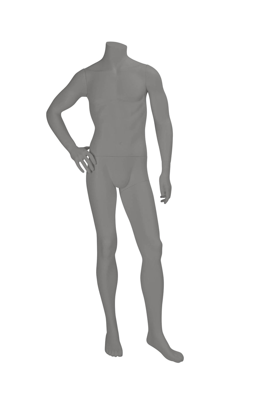 grey headless male mannequin with right hand on hip