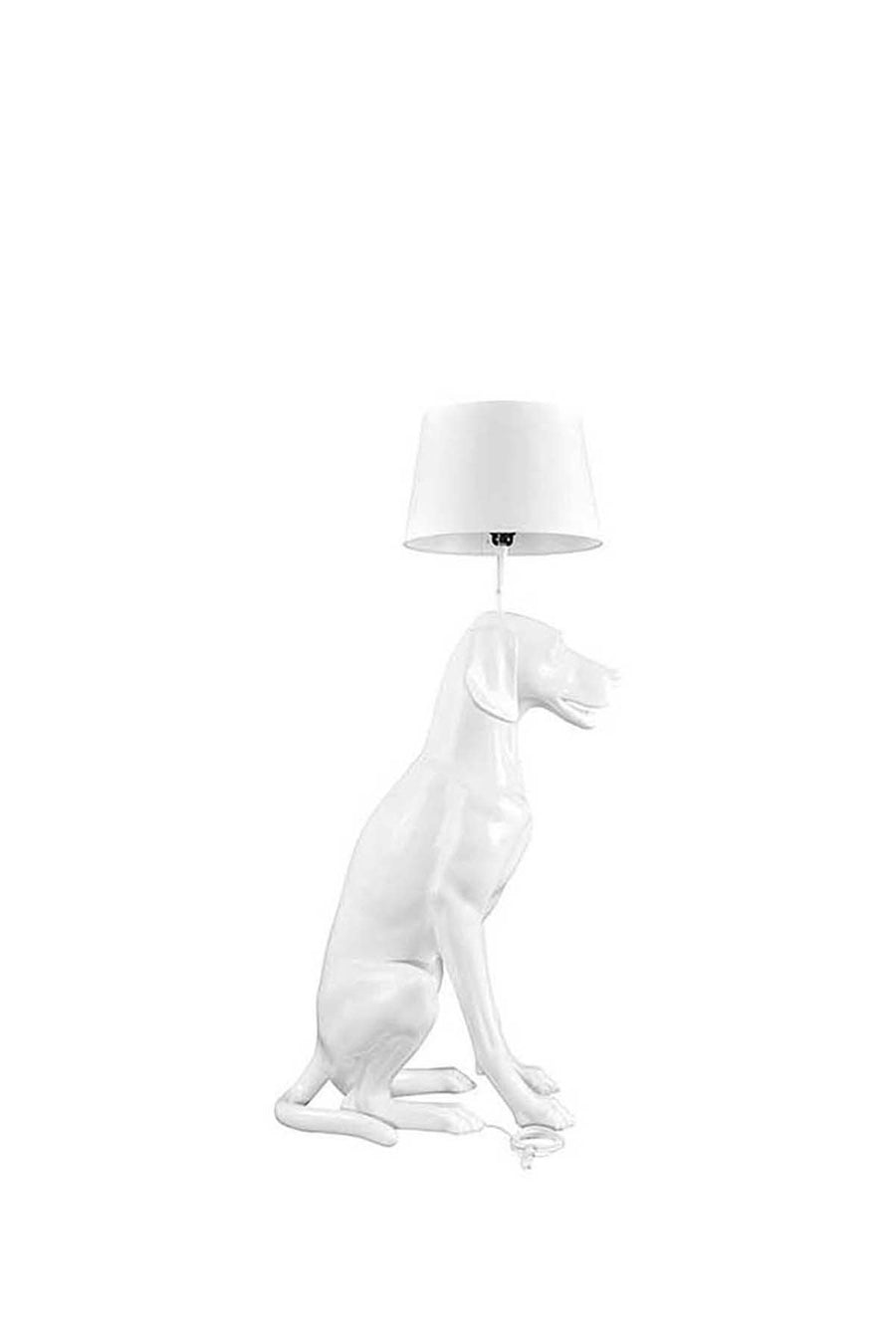 pure white sitting dog mannequin with functioning lamp on head