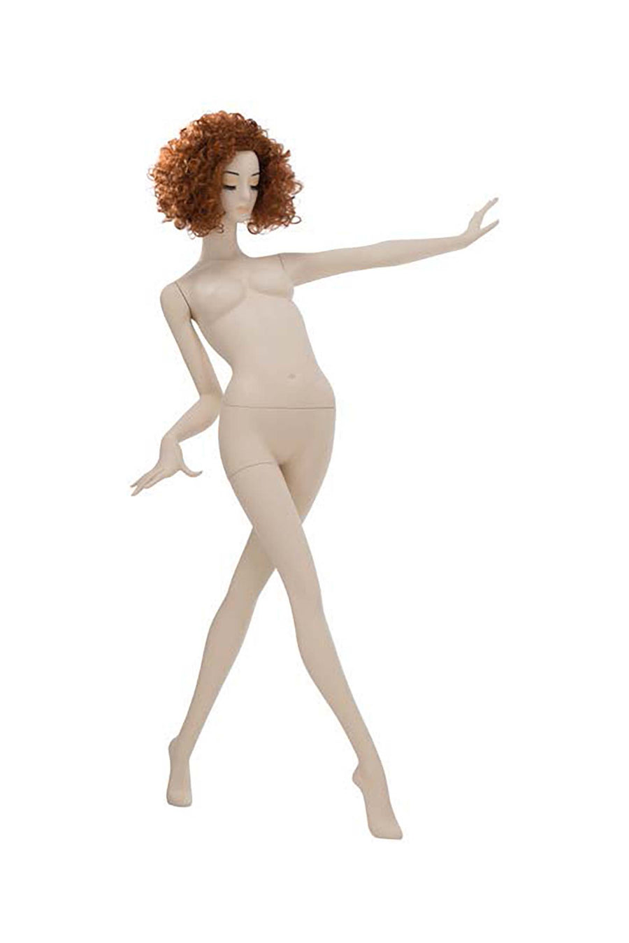 light skin tone female mannequin with left arm straight out, right arm bent, and right leg crossed in front of left