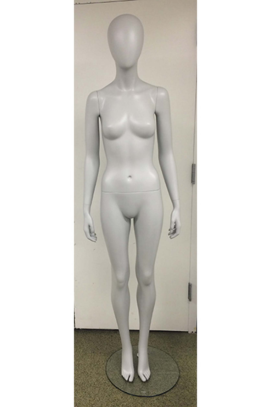matte gray female mannequin with arms at sides and legs together