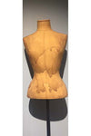 cotton tea stained fabric headless female half tailor bust form