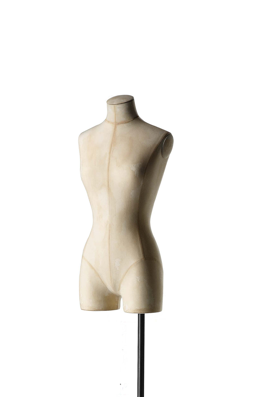 beige burlap covered female three quarter tailor bust form with no head, arms, or legs