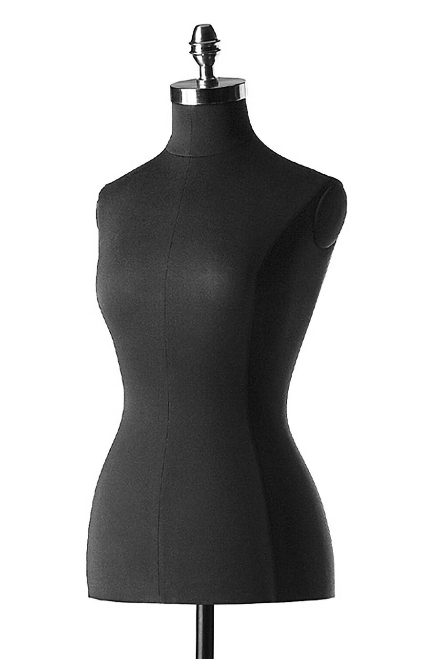 black jersey headless female three quarter tailor bust form mannequin with no arms or legs and a chrome neck cap