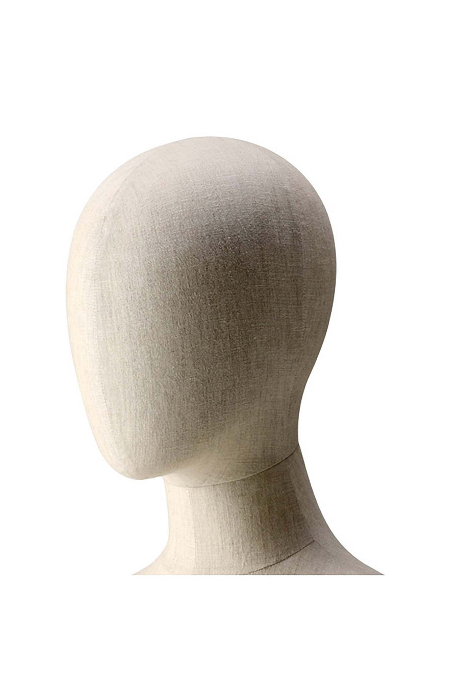 female mannequin head in cotton vintage fabric