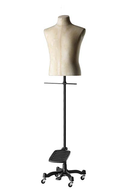 beige male tailor bust form with no arms, legs, or head