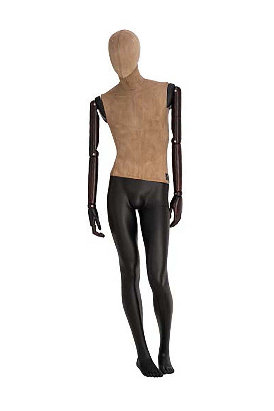 male mannequin with a weathered cotton covered torso and head, dark wood arms, and jet black legs