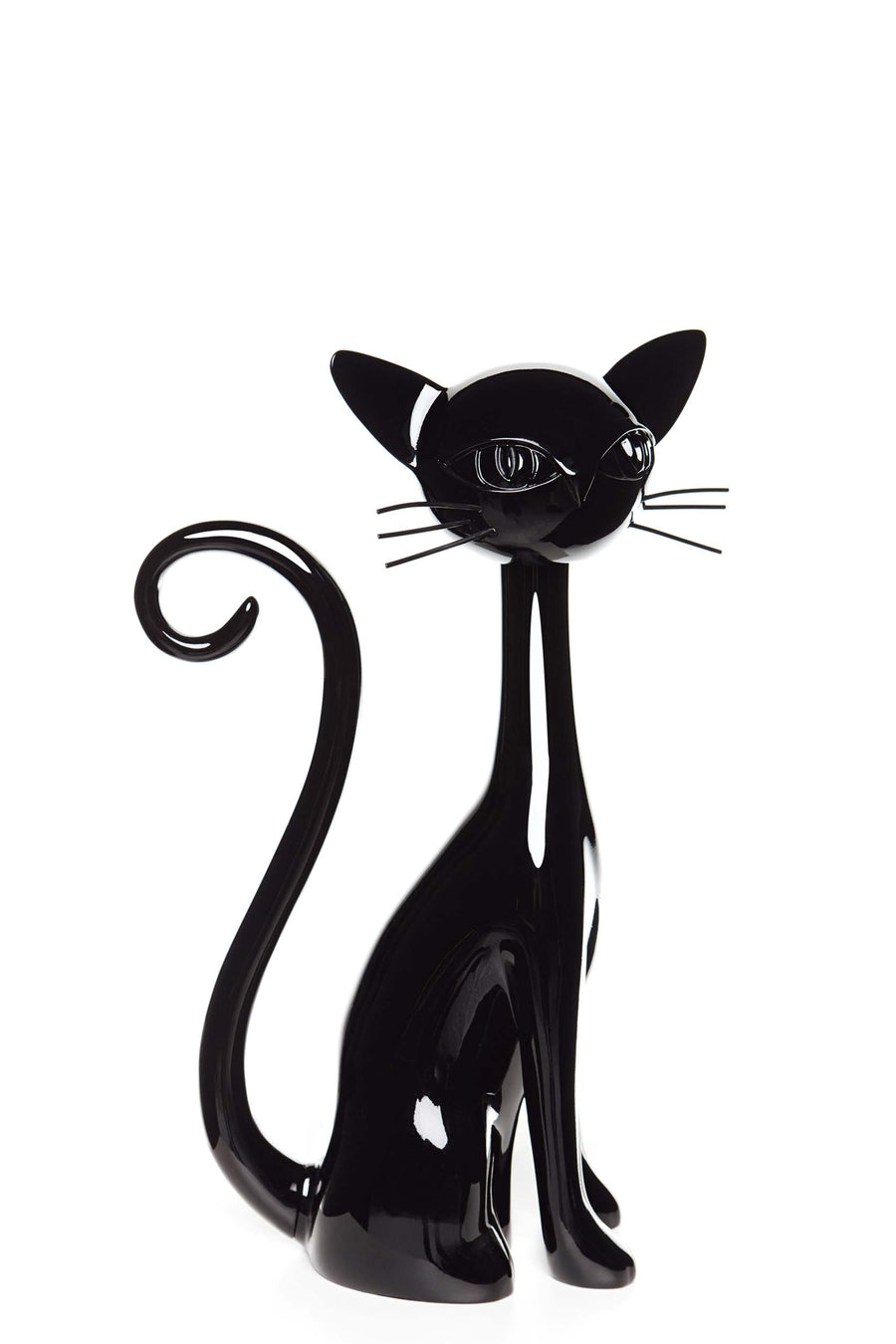 jet black sitting cat mannequin with long neck, curled tail, whiskers, and fluorescent yellow eyes