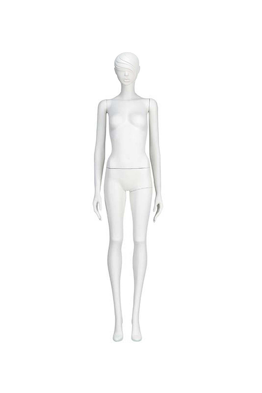 blue chrome female mannequin with arms at sides and legs together