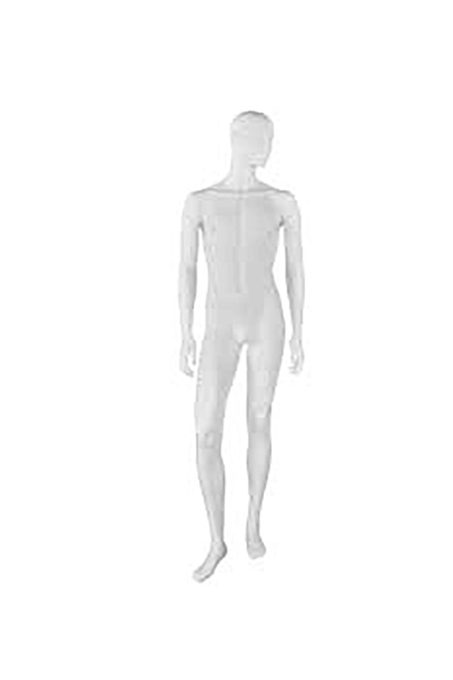 light skin tone male mannequin with arms at sides and right leg stepping forward