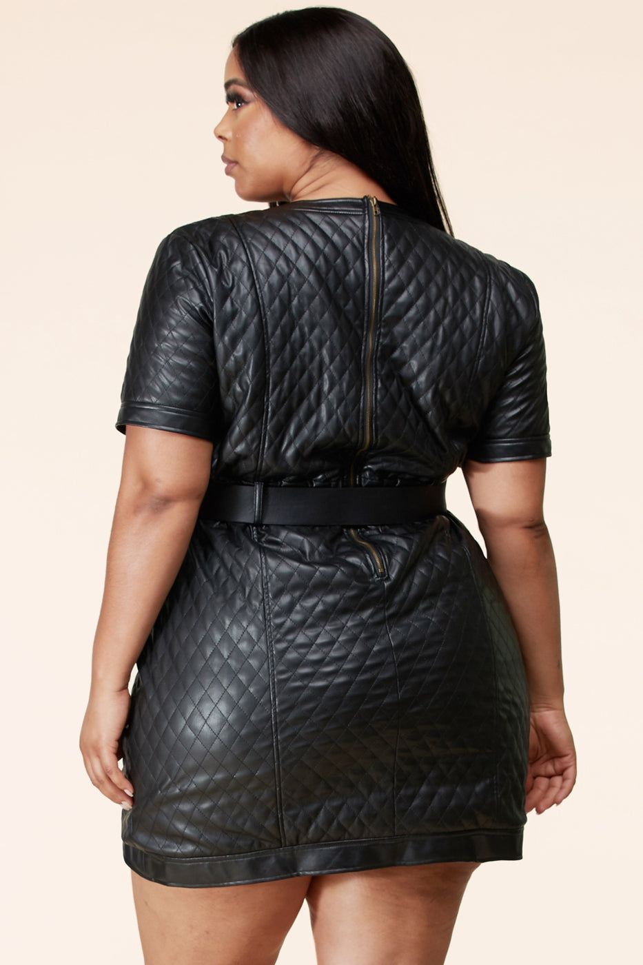 plus size Faux Quilted leather dress
