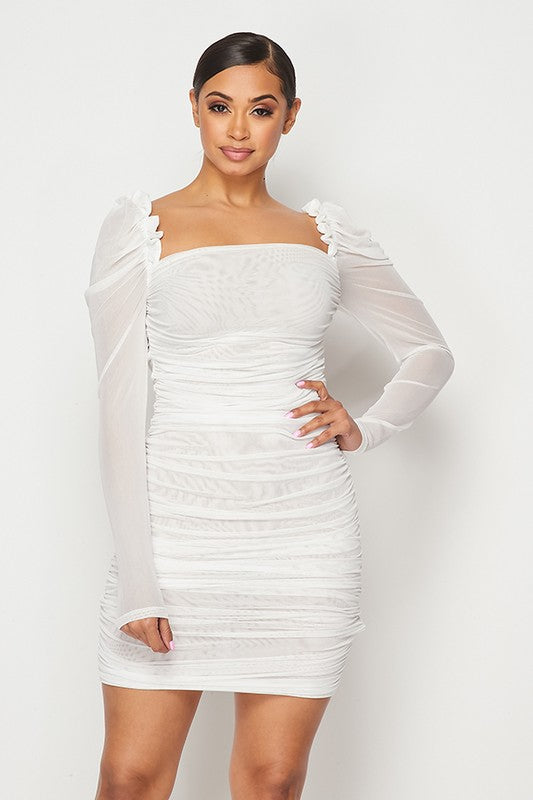 White  Ruched sheer puff dress
