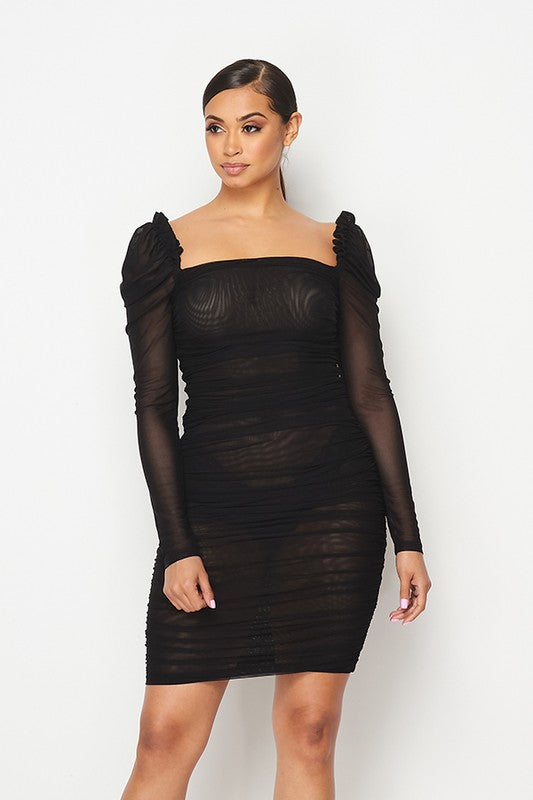 Ruched sheer puff sleeve dress