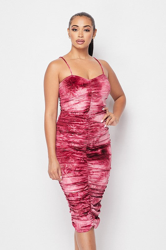 Sparkly velvet ruched midi dress