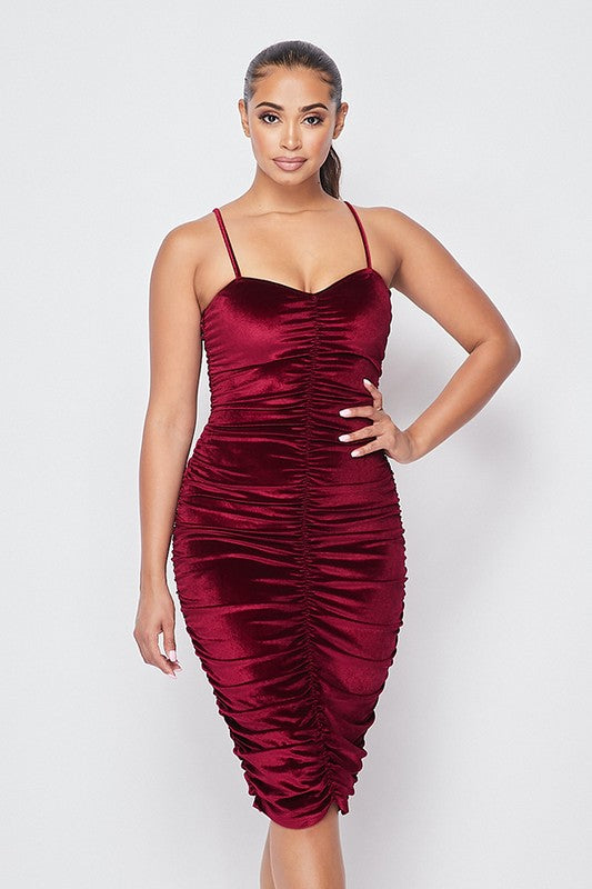 Sleeveless ruched velvet dress