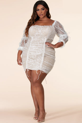 Cute and sexy intricate lace design mini dress