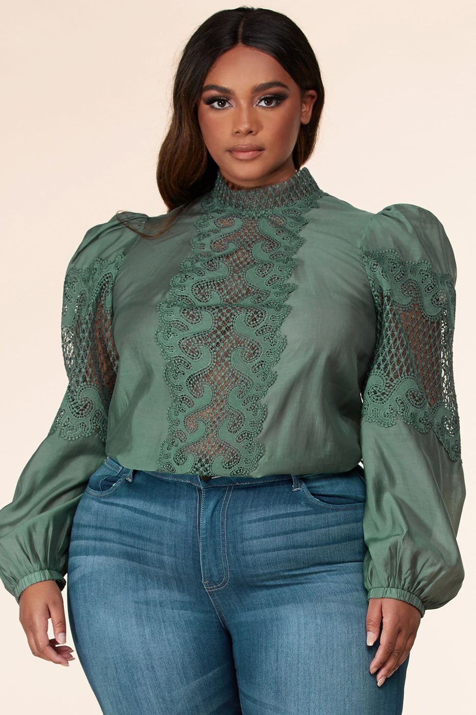 Mock neck sheer lace lantern long sleeve top