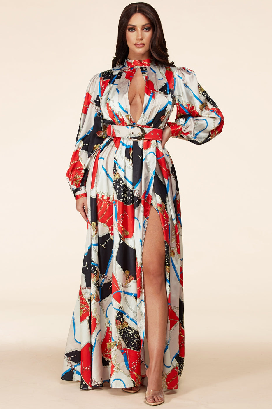 A Printed Pleated Maxi Dress