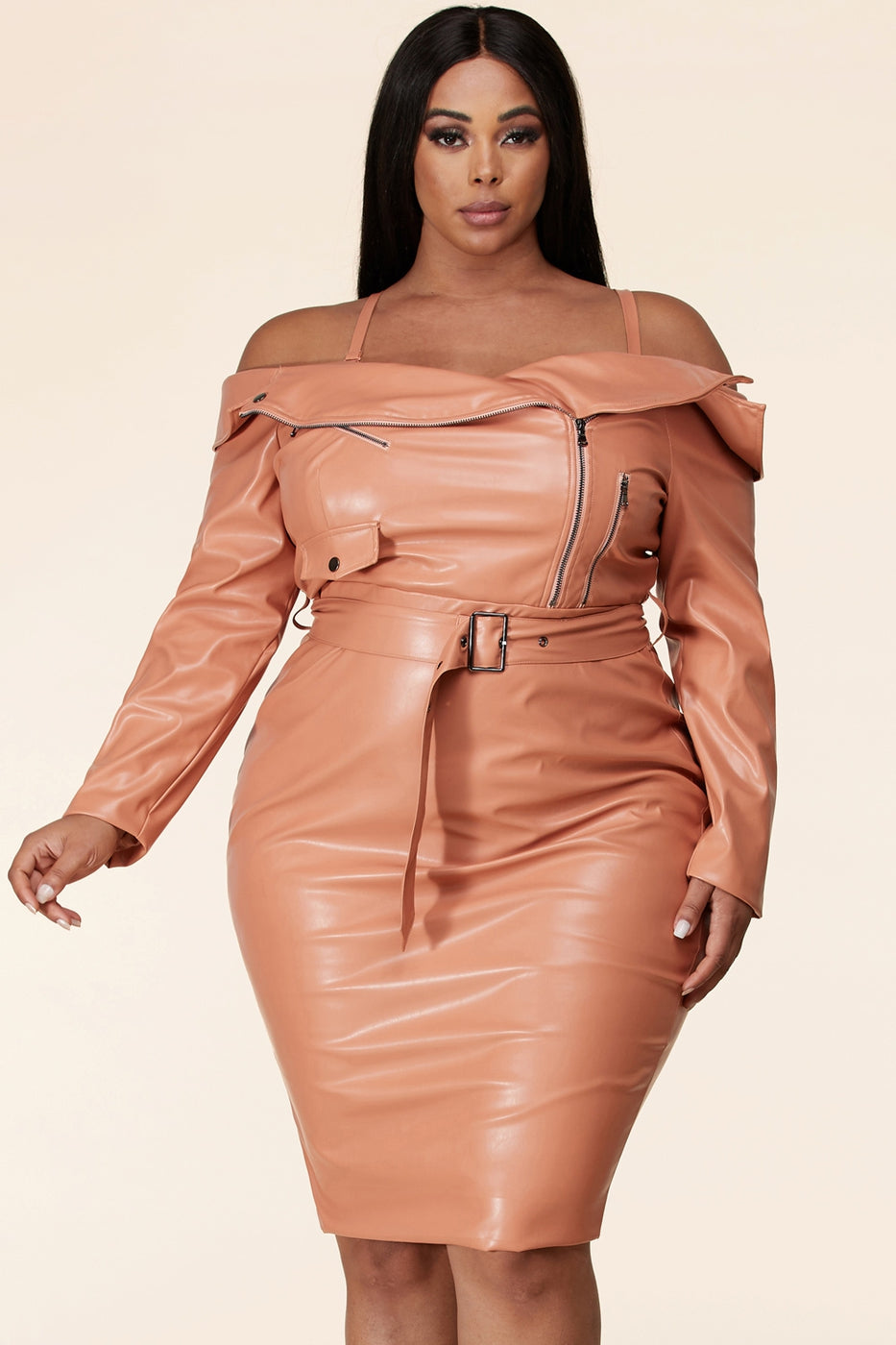 This peak shoulder faux leather mini dress