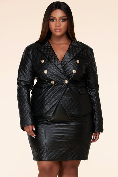 Quilted Faux Double-breasted blazer skirt set