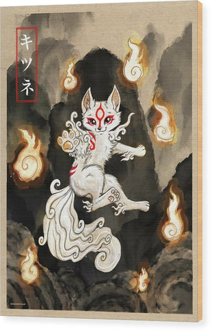 Floating Okami Fox - Wood Print