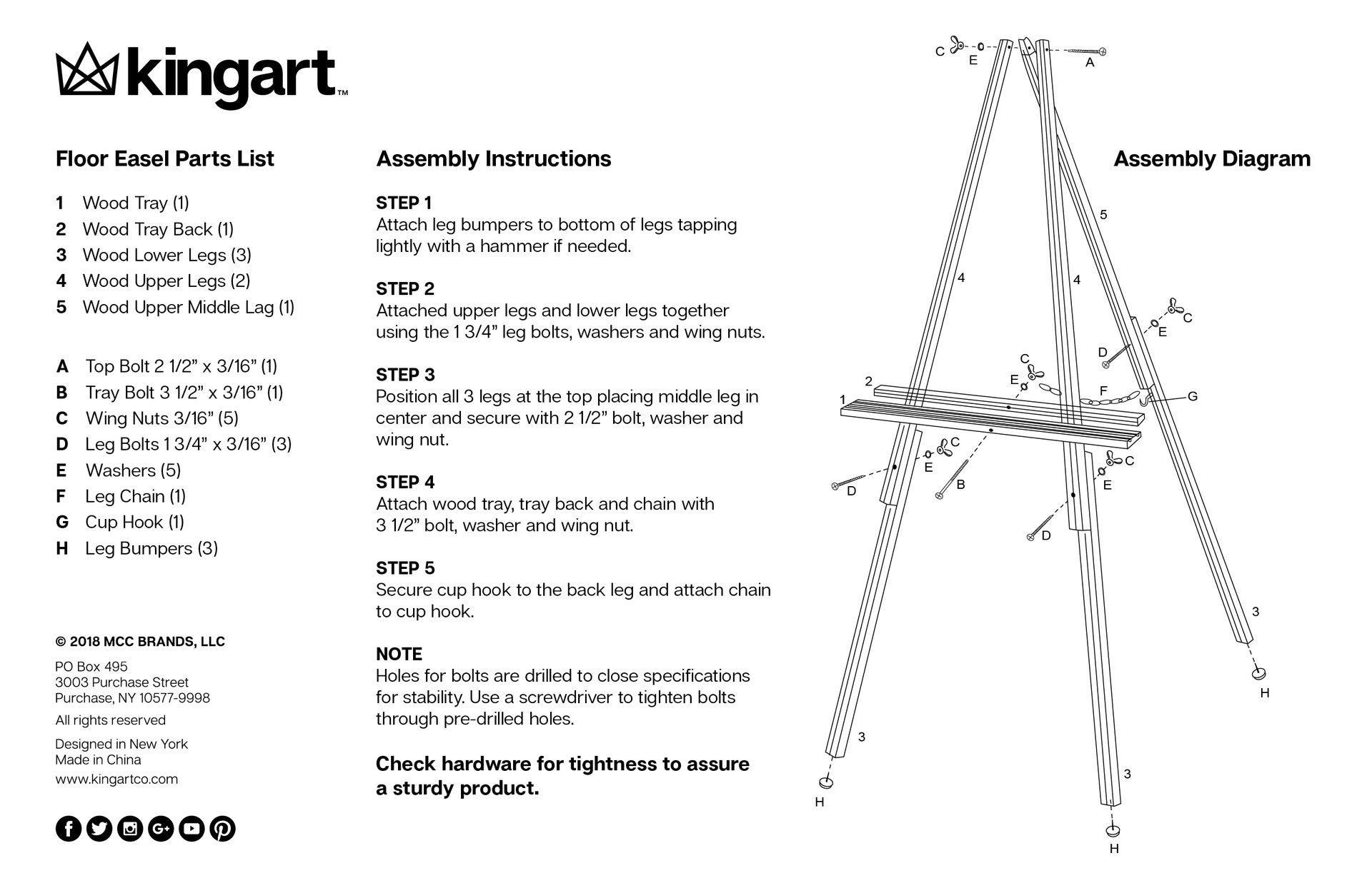 Easel Assembly Instructions