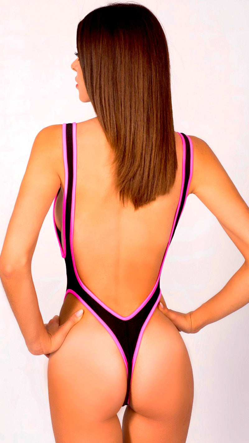 STRETCHING BLACK/PINK MONOKINI POLE DANCING FITNESS FESTIVE PERFORMANCE SHOWGIRL