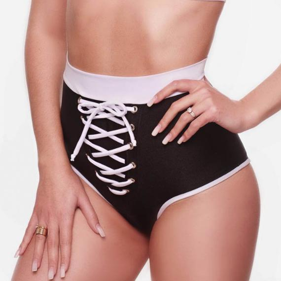 HIGH-WAISTED BLACK/WHITE FRONT LACE-UP SHORTS POLE FITNESS DANCING FESTIVE WEAR