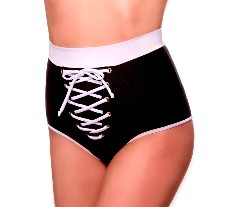 Black / White Lace-Up Crop Top and Hight Waisted Shorts Pole Fitness.