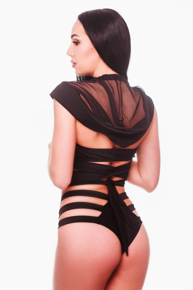 Black Hooded Top Exotic Pole Dancing Wear