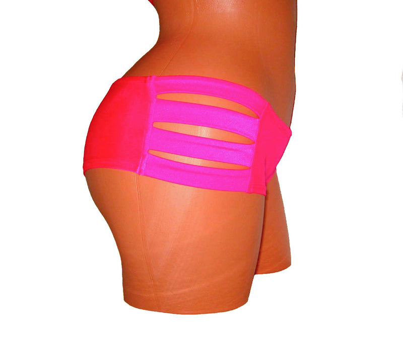 Neon Pink Top And Shorts Pole Dancing Fitness Burlesque,Showgirls Wear