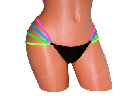 Pole Dancing Black/Neon Multi Colour Mini Thong