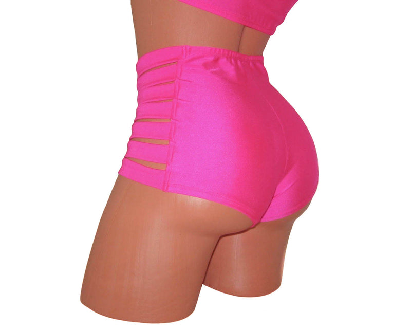 Neon Pink Top And High-Waisted Shorts - HollywooDress