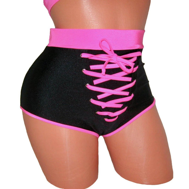 Sexy High-Waist Front Lace-up Detailing Shorts Clubwear Pole Dancing Stripper Outfit Exotic Dancewear