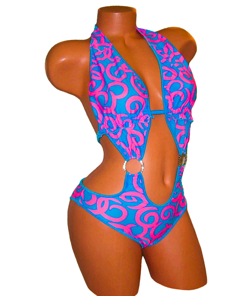 Blue/ Pink One Piece Bodysuit Monokini Swimsuit - HollywooDress