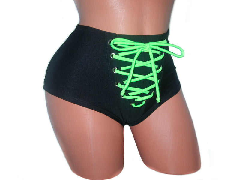 High Waisted Front Lace-up Black / Lime Shorts
